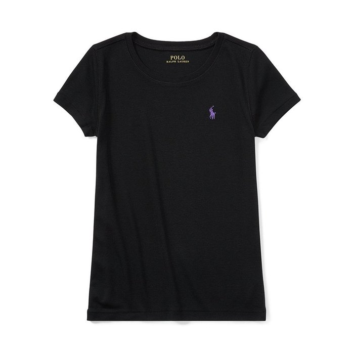 美國百分百【Ralph Lauren】圓領 T恤 RL 短袖 T-shirt Polo 素面 小馬 黑色 女 I397