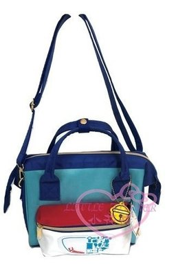 ♥小花凱蒂日本精品♥Doraemon哆啦a夢小叮噹藍紅色側背包肩背包外出包包2用包2way~預