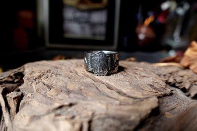 【monolith】生來狂野二店 舊化閃電 雷鳥圖騰戒指 凹凸打印 Navajo 職人手作 國際圍15.5號