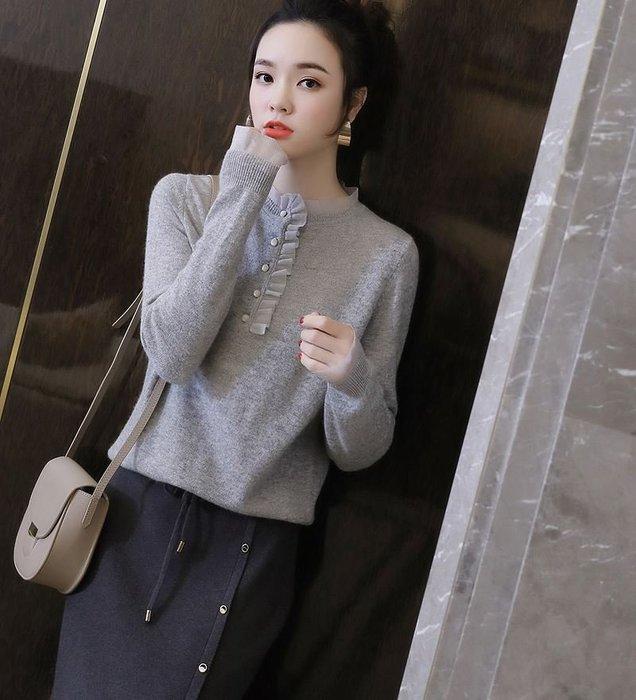 法式浪漫歐根紗花邊羊毛針織上衣 1143   米蘭風情