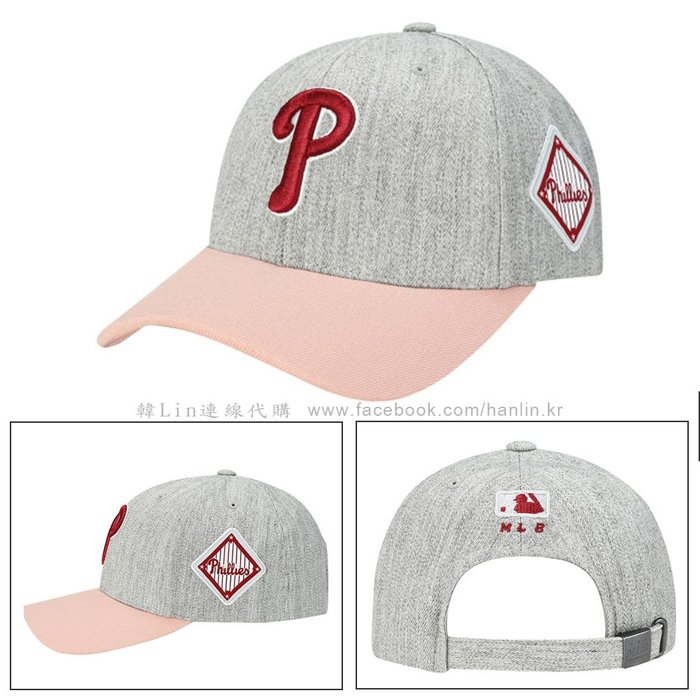 現貨【韓Lin連線代購】韓國 MLB--紅色P字母刺繡灰色棒球帽 CP85 SIDE RHOMBUS 32CP85861