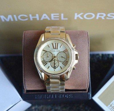 ?正品MICHAEL KORS手錶BRADSHAW PAVE金色鋼錶帶 男女 三眼石英腕錶43mm(MK6538)