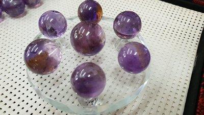 七星陣 紫黃水晶七星陣球10CM玻璃底...