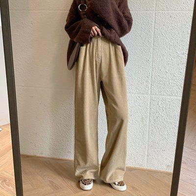Maisobo 韓 秋冬 復古坑條有厚度燈芯絨落地闊腿褲 3色 TO2-28 預購