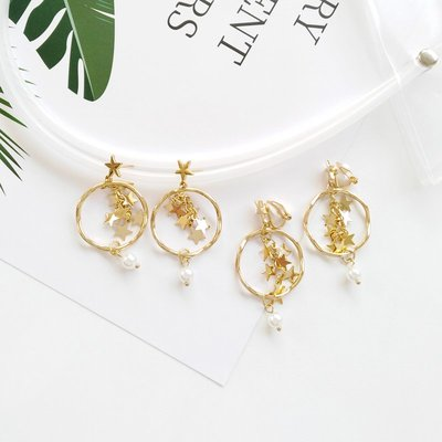 飾品無耳洞耳夾星星亮片甜美珍珠耳墜學生簡約幾何圓形韓國耳環耳飾