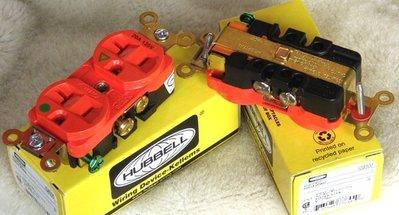HUBBELL IG8300 獨立接地電源插座(橘紅色)
