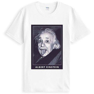 Albert Einstein 愛因斯坦人物相片潮T短袖棉質T恤 白色 t-shirt 美國棉 亞版