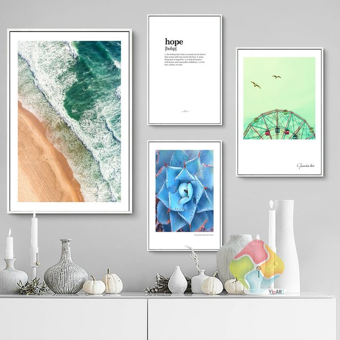 ins北歐風格現代簡約植物大海海浪摩天輪裝飾畫畫芯掛畫壁畫畫心(不含框)