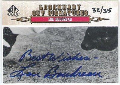 2011 UD SP LEGENDARY  LOU BOUDREAU  限量 已去世老人切割簽名卡 32/35