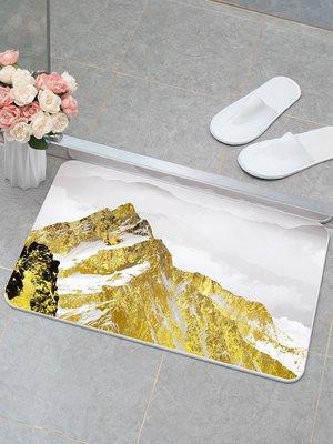 世界購 現代簡約輕奢金黃色硅藻泥地墊 防滑吸水快干淋浴房門口腳墊