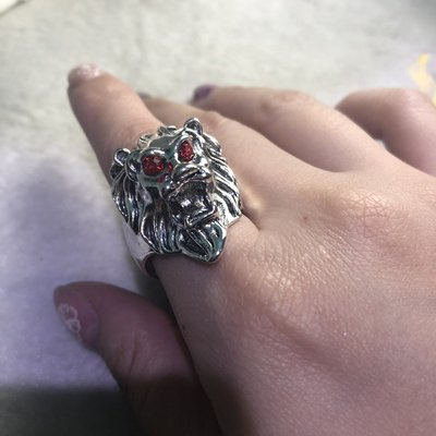 復古獨特獅古銀戒指