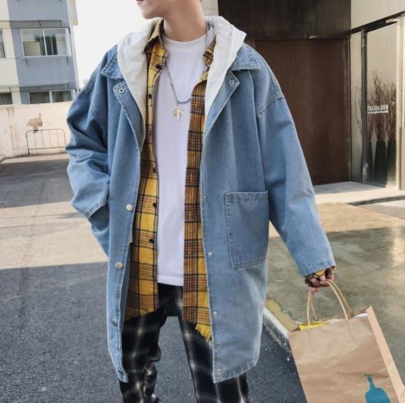 2018秋季新款韓版中長款牛仔外套男學生帥氣寬鬆潮流男士連帽風衣
