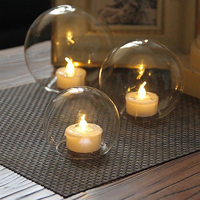 現代簡約創意透明圓球電子蠟玻璃燭台婚慶佈置燭光晚餐 全館免運