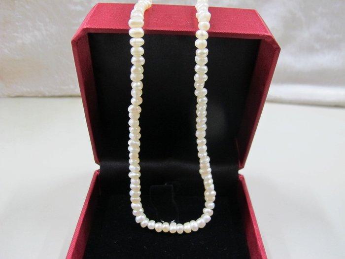 二手舖~ NO.141 天然珍珠項鍊 母親節 手鍊戒指墜子首飾手環耳環 (珍珠大小約4-5mm)