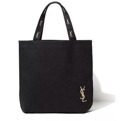 【GoDay+刷卡】日本雜誌 YSL 贈品 拉鍊帆布包 刺繡 聖羅蘭 帆布包 購物袋 (衝評價)
