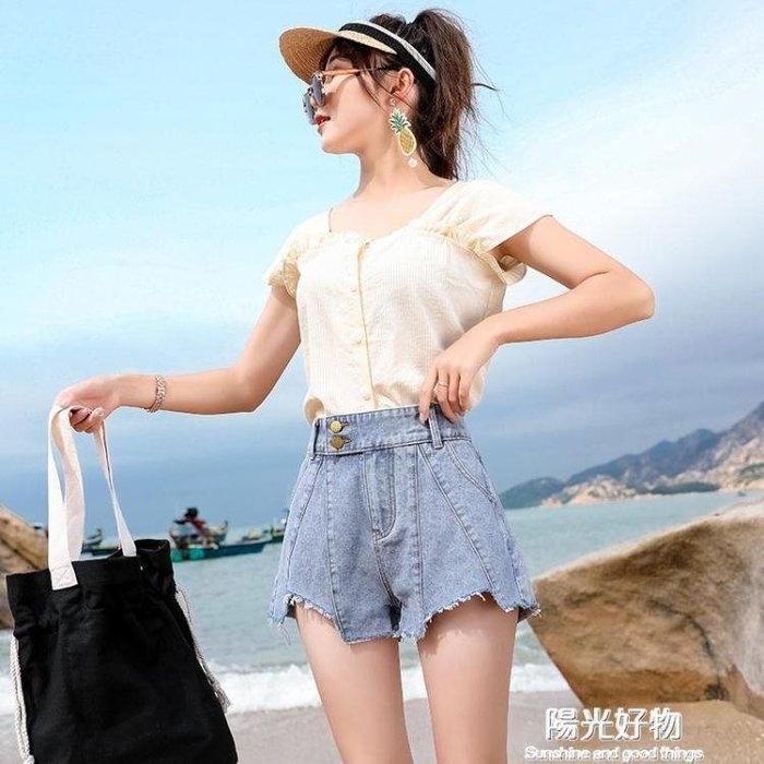 網紅牛仔短褲女新款夏季韓版寬鬆顯瘦外穿a字高腰闊腿熱褲潮