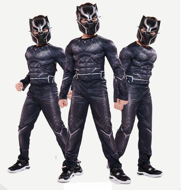 乂世界派對乂 萬聖節服裝,萬聖節裝扮,兒童變裝服-萬聖節服裝-黑豹服裝/肌肉連身服