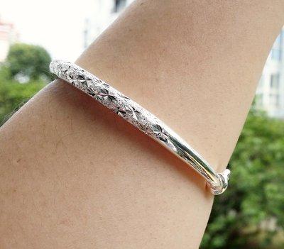 嗨,寶貝銀飾珠寶* 925純銀☆990純銀 時尚 超閃 滿天星推拉實心純銀手環 手鐲 可調節