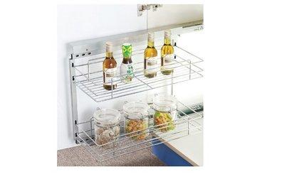 ╭☆魔法廚房☆F6420-4系統櫥櫃內 水槽櫃 矮櫃 專用 雙層 清潔用品 調味瓶 緩衝 側拉籃
