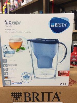 【BRITA 德國】Marella、(L)、2.4L、濾水壺/藍色、附濾芯1顆,一盒裝【德國原裝進口】