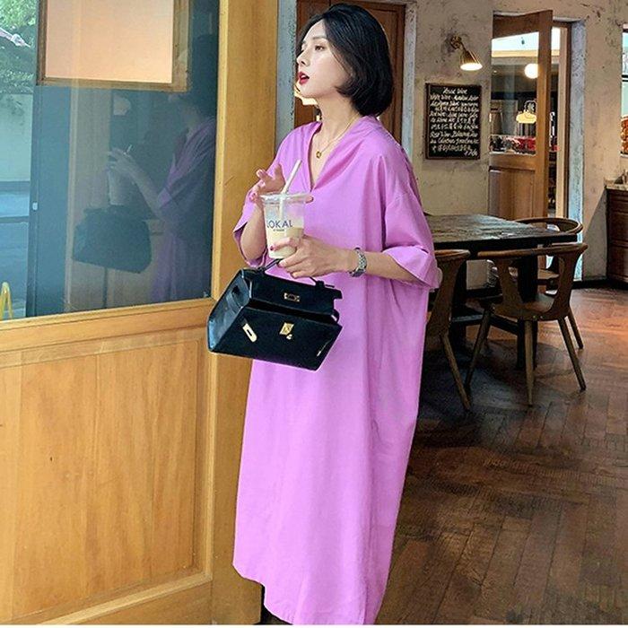 連身裙V領中長款韓版短袖氣質顯瘦開叉裙