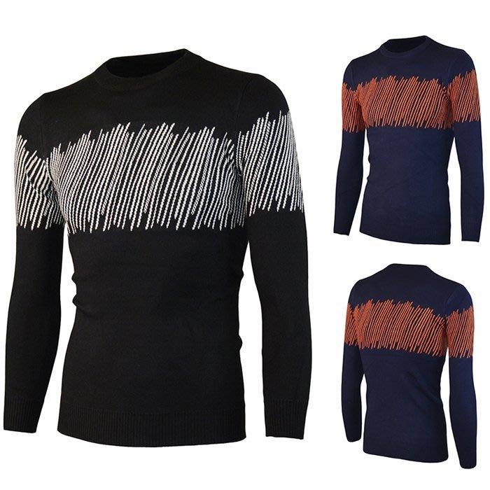 『潮范』 S12 潮男圖案毛衣 線衫 圖案針織衫 圓領條紋毛線衣 套頭打底衫NRG1179