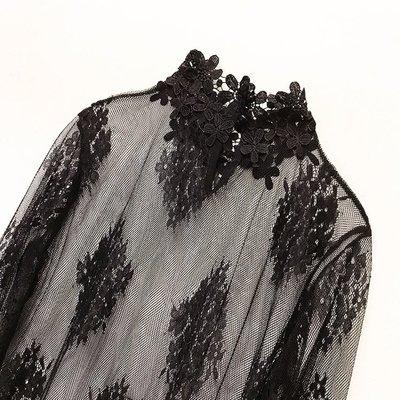 女裝上衣 內搭打底衫復古chic性感透視蕾絲鏤空高領打底衫透明網紗喇叭袖內搭上衣女秋