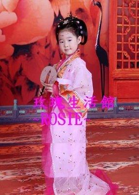 【演出show】~ 兒童華麗繡花大裙擺妃子服,兒童妃子裝,粉紅