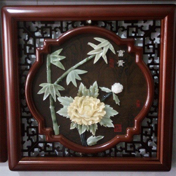 客廳中式古典玉畫掛畫四條屏玉雕畫裝飾畫 餐廳走廊背景畫 富貴 玉畫20