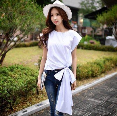 短袖襯衫白色圓時尚側邊綁帶蝴蝶結寬鬆短袖襯衫許願魔鏡@wishing Mirror-*-D17BST121-C743S