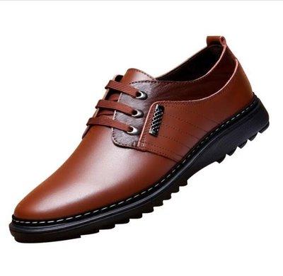 皮鞋 男士系帶棕色韓版英倫青年圓頭休閒皮鞋男鞋冬季百搭牛皮潮鞋
