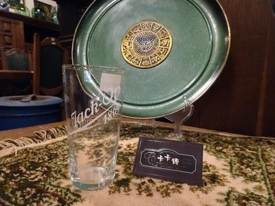 【卡卡頌 歐洲跳蚤市場/歐洲古董】歐洲老件_白色文字 Logo 玻璃杯 g0034