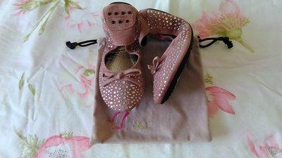 花花小舖 ~ iki2 (百貨專櫃) 全新鑽飾輕巧摺疊真皮豆豆底娃娃鞋 (粉藕色)