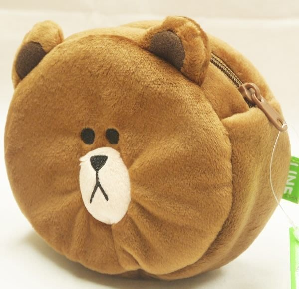 LINE 熊大 臉型 收納袋 小物袋 圓型280269 特價出清