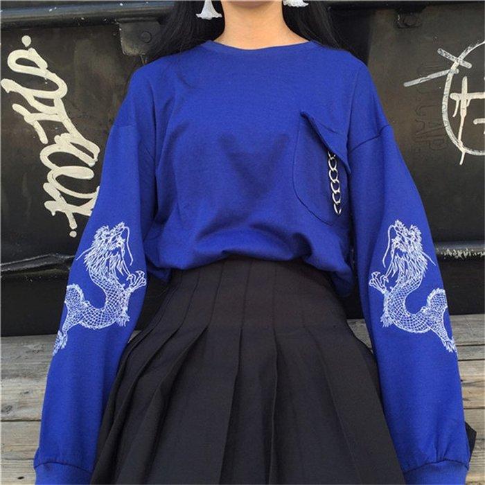 小香風 短袖T恤 時尚穿搭 女裝 韓版 原宿風個性圓環龍刺繡寬松長袖衛衣薄款外套上衣學生