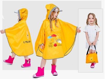 •*~ 辣媽咪衣飾小舖 ~*•❤童裝系列❤A970138兒童寶寶男女童學生卡通圖案防滑雨靴--斗蓬式維尼熊