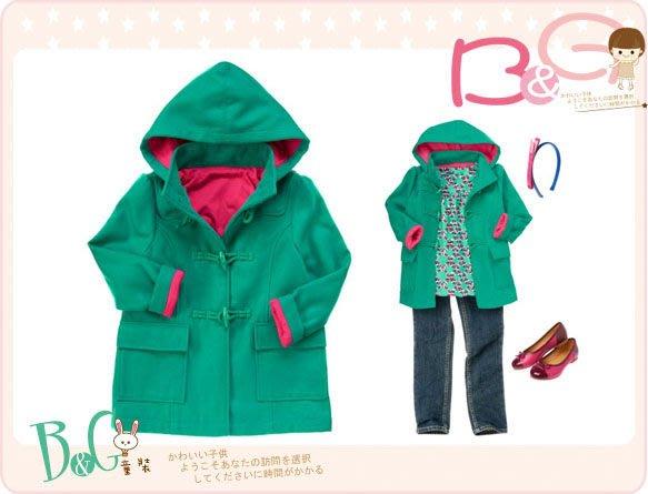 【B& G童裝】正品美國進口Crazy8 牛角扣綠色長袖絨質大衣外套L號8-10y