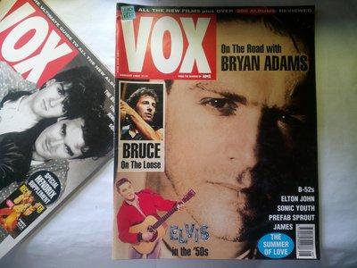 VOX雜誌 1992年8月 Bryan Adams 布萊恩亞當斯 封面 布魯斯史賓斯汀 英國樂壇藝人大堆頭照  114頁