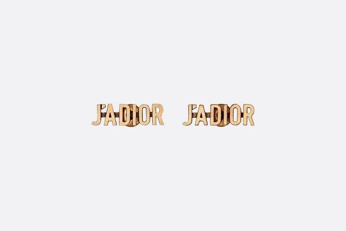 Dior J'ADIOR 鍍金 復古金 LOGO 耳針式 耳環