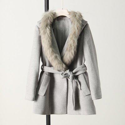W1151 現貨 專櫃品牌綁帶毛領可拆連帽呢外套大衣 女 中長款/毛呢羊毛羊絨羊駝外套大衣