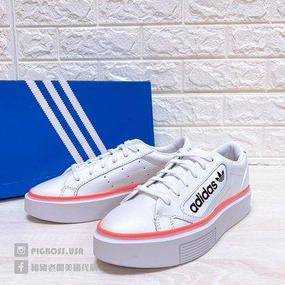 【豬豬老闆】ADIDAS ORIGINALS SLEEK SUPER 白綠橘 厚底 休閒鞋 女鞋 EF4956