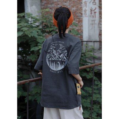 ☆.sun小鋪_ NARRATOR 20SS日系復古山水畫刺繡印花短袖T恤衫男女寬松潮流體恤衫D58F