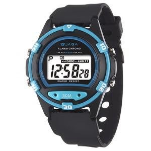【元電】【JAGA 專賣店】台灣設計 捷卡  M267-AE(黑藍) 電子錶 大數字 倒數計時 鬧鈴