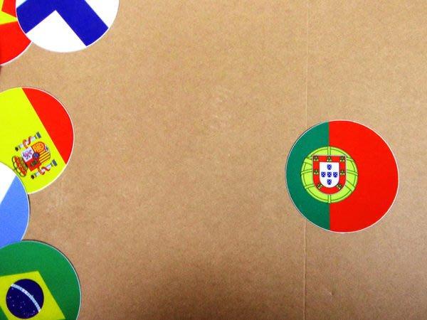 【衝浪小胖】葡萄牙國旗圓形登機箱貼紙/抗UV防水/Portugal/世界多國款可收集和客製