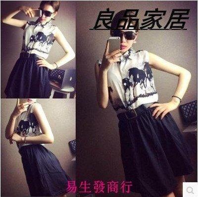 【易生發商行】韓版女裝夏季油墨畫印花雪紡襯衫腰帶黑色短裙休閑套裝F6153