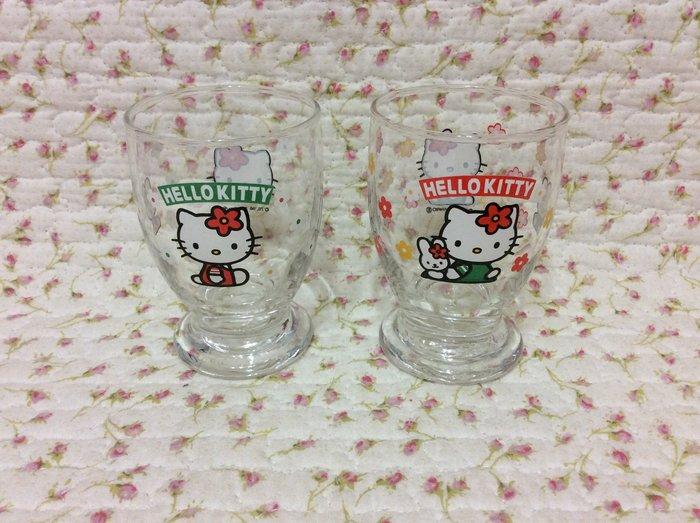 Sanrio hello kitty 可愛果汁玻璃杯組2個《1998年商品》玻璃杯兩面圖案不同~收藏出淸