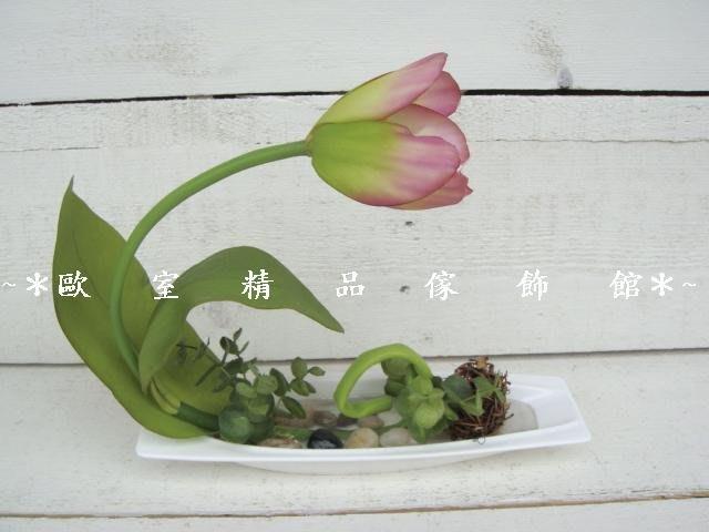 ~*歐室精品傢飾館*~人造花~單朵鬱金香小品盆花/桌花-紫色~新款上市~