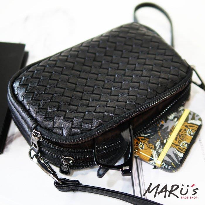 MARU`S BAGS SHOP 三層編織手掛斜背包[LN-734]真皮 零錢