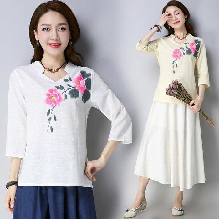 夏新款民國風女裝復古中式茶人服七分袖日常漢服 LQ4823