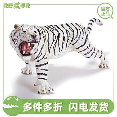 溜溜重現RECUR 白孟加拉虎玩具模型軟膠兒童仿真野生動物老虎塑膠擺件
